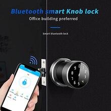 Smart Round Handle Lock Knob Bluetooth App Wifi Smart Fingerprint Door Lock for Intelligent Home Appartment Office
