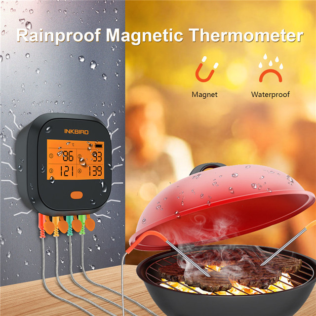 Inkbird IBBQ 4T Wi Fi Meat Digital Thermometer Rainproof Magnetic Alarm Thermometer for Kitchen Smoker Grilling with 4 Probes