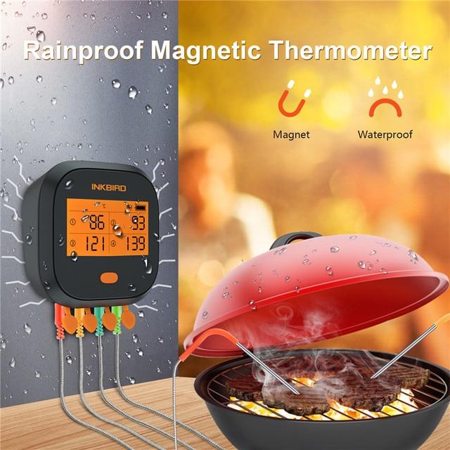 Inkbird IBBQ 4T Wi Fi בשר דיגיטלי מדחום אטים לגשם מגנטי מעורר מדחום למטבח מעשן צלייה עם 4 בדיקות