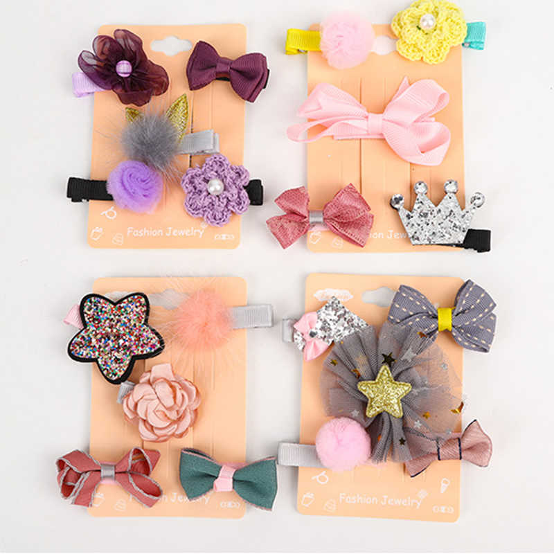 5Pcs//Set Crown Sequin Baby Girl Hair Clip Hairpin Baby Hair Clips Barrettes Clip