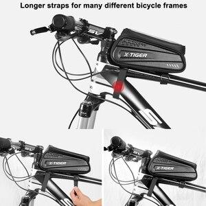 Image 4 - X TIGER torba na rower rama przednia górna rura torba na rower odblaskowa 6.5in etui na telefon ekran dotykowy akcesoria do toreb wodoodporna torba na rower torba na rower