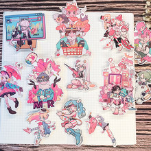 12Pcs Japanse Anime Meisje Team Hand Account Sticker Koelkast Koffer Skateboard Mobiele Telefoon Stickers Diy