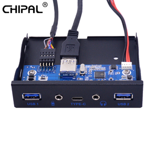 """CHIPAL 5 Ports USB 3.1 TYPE-C Hub Spilitter USB3.0 USB-C Front Panel HD Audio with Power Cable For PC Desktop 3.5"""" Floppy Bay(China)"""