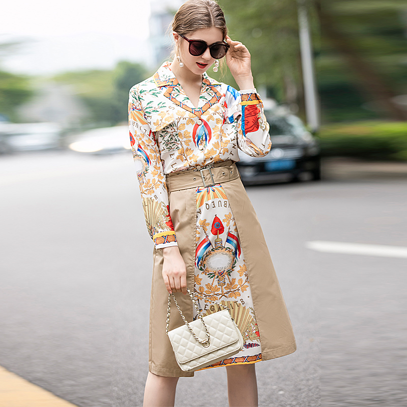 New Fashion High Quality Spring Print Lapel Top Stitching Print Half Skirt Vintage Elegant Chic Workplace Casual Women'S Sets