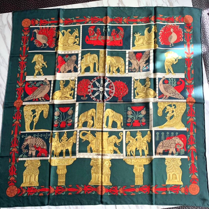 KMS Ancient Egyptian Statue Sand Wash Pure Silk Twill Scarf Exquisite Hand Rolled Square Scarf Wild Shawl Scarf 90*90CM/45G