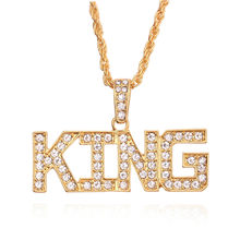 Hip Hop Gold Letter Queen King Necklace Gold Chain Inlaid CZ Pendant For Couple Women Men Valentine's Day Gift Collar Jewelry(China)