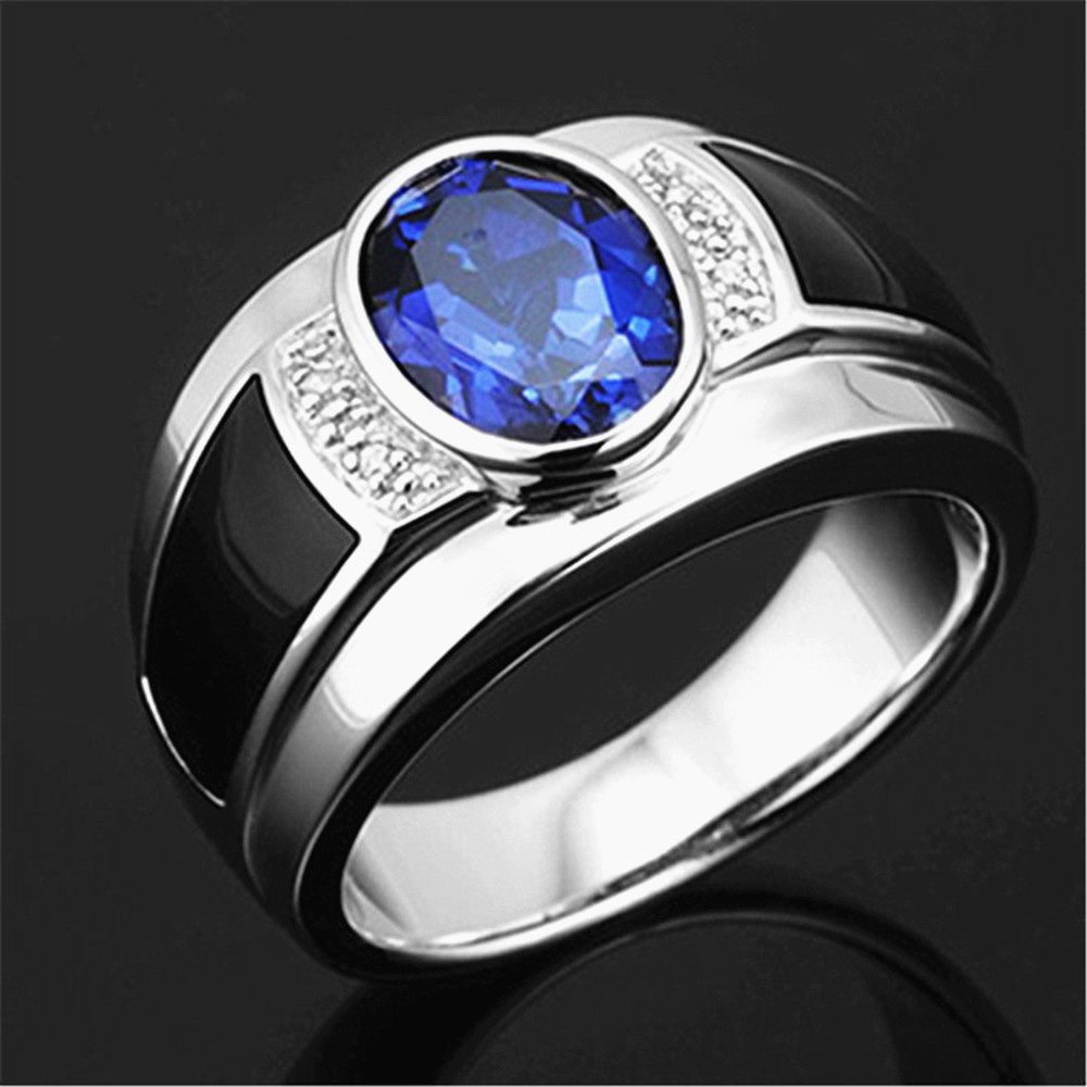 Fashion sapphire gemstones blue crystal black agate zircon diamonds rings for men white gold silver color jewelry party bague