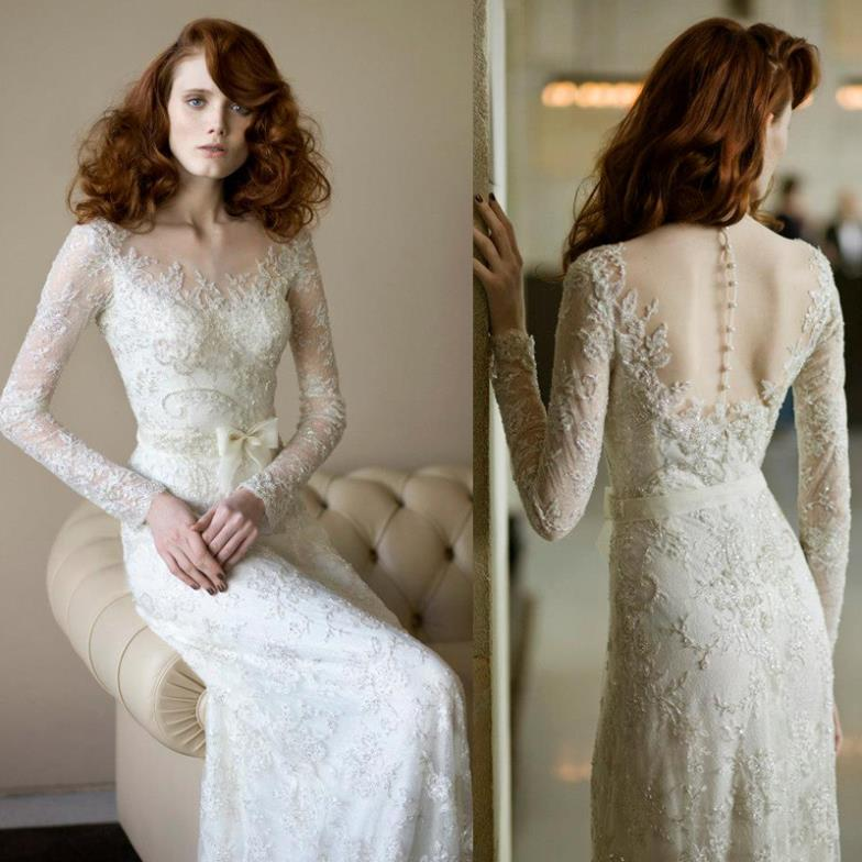 Free Shipping 2016 White Long Sleeve Special Occasion Dresses Elegant Dress Beaded Backless Lace Wedding Dresses Bridal Gowns