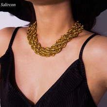 Salircon Exaggeration Choker Necklace Thick Collar Alloy Creative Zigzag Fashion Rock Neutral 2019