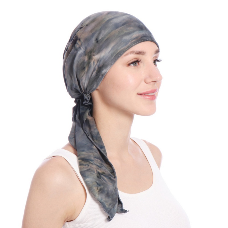 2019 Print Women India Hat Muslim Ruffle Cancer Chemo Beanie Scarf Turban Two Tail Wrap Cap Daily Wear 5 Colors Freeshipping