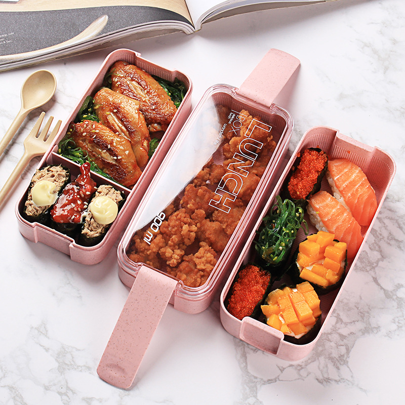 Lunch Box  900ml Portable Healthy Material 3 Layer Wheat Straw Bento Boxes Microwave Dinnerware Food Storage Container Foodbox