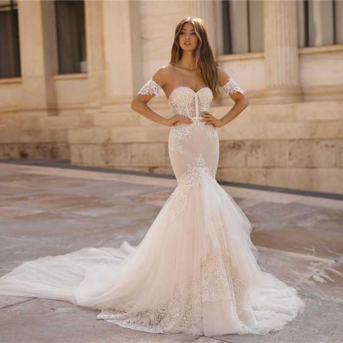 Elegant Berta ชุดแต่งงานลูกไม้ Mermaid Sweetheart Applique ยาวชุดเจ้าสาว Backless Robe De แต่งงาน CUSTOM Made