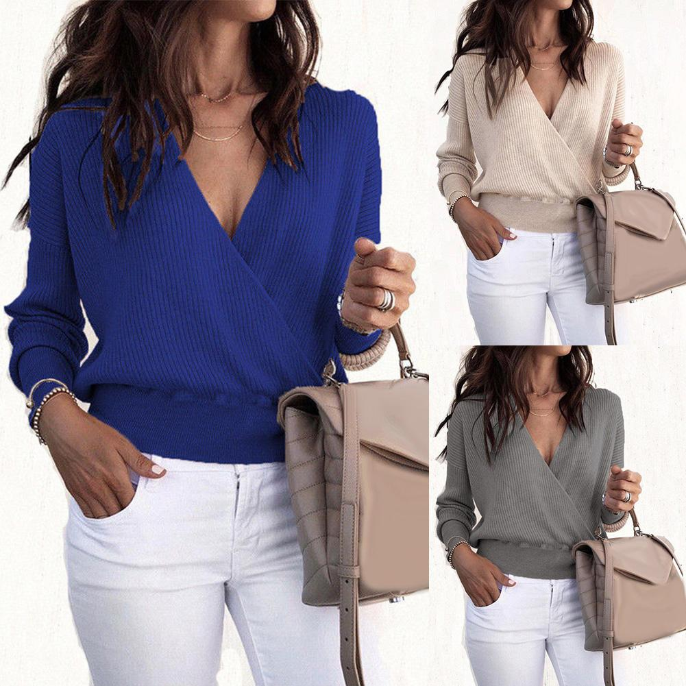 Autumn Deep V Neck Sweater Knitted Fashion Womens Sweaters Winter Tops For Women Pullover Jumper Pull Femme Clothing