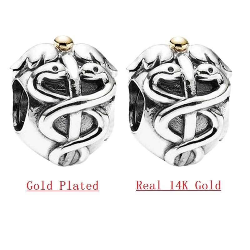 Life Saver Caduceus Charm Beads 14k Gold Silver 925 Jewelry Diy Fit Original Pandora Bracelets Women Beads Aliexpress