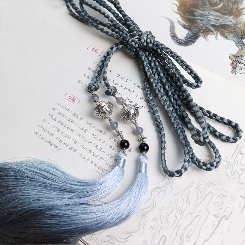 Bell House Taeniasis Antique Style Weaving Chain Belt Tassels Waist Pendant Chinese Clothing Hair Band Accessories Belt