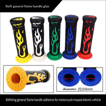 Universal 7/8 22mm rubber flame handle grips dirt bike parts A Pair Flame Soft TPR Motorcycle Handlebar Hand Grips