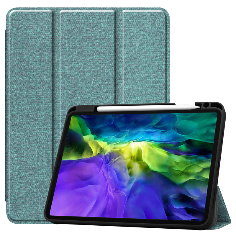 Mint green Green Funda For iPad Pro 11 2020 Case With Pencil Holder Smart Cloth Textured Stand TPU Soft