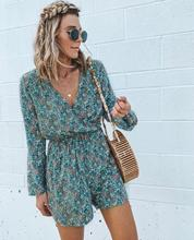 Floral Print Loose Autumn Playsuit Casual Long Sleeve Sexy Wrap V Neck Shorts Jumpsuit Women Elegant Bohemian Overalls For Women plunge v neck floral print playsuit with long sleeves