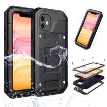 360 מלא מגן מקרה עמיד למים עבור iphone 11 מקרה coque Funda עבור iphone 11 פרו מקסימום מקרה כיסוי שריון מתכת אבדון כבד החובה