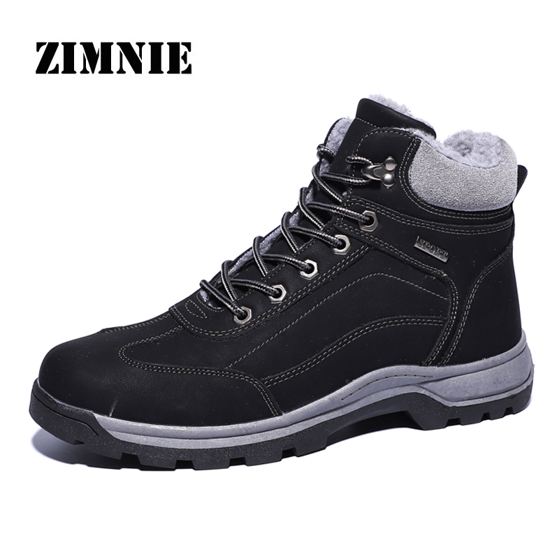 ZIMNIE New Big Size 39~48 Leather Men Warm Plush Boots Autumn And Winter Men High-Top Fashion Ankle Boot Men's Working Shoes