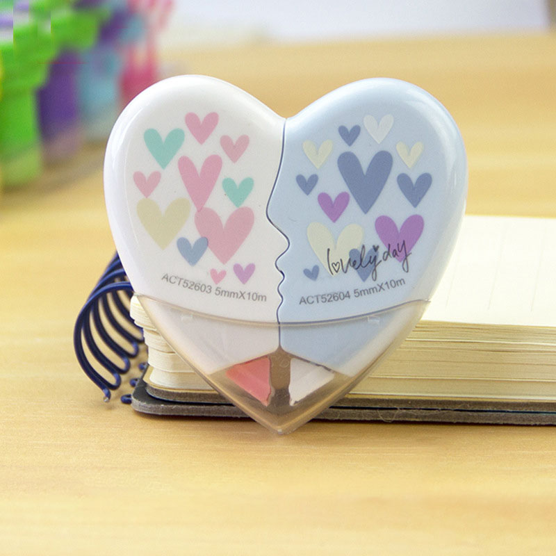 2 Pcs/pair Love Heart Correction Tape Material Kawaii Stationery Office School Supplies 10M White Sticker Study Office Tools