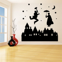 Magic Castle Wall Sticker Decoration Sticker Home Decor Kids Room Decoration Background Wall Art Festival House Decal Decor