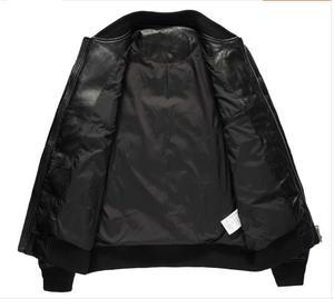 Image 2 - YR! Spedizione gratuita. Classico stile casual cuoio genuino jacket.80 % piume danatra bianca cappotto di pelle di pecora. Inverno caldo abbigliamento in pelle