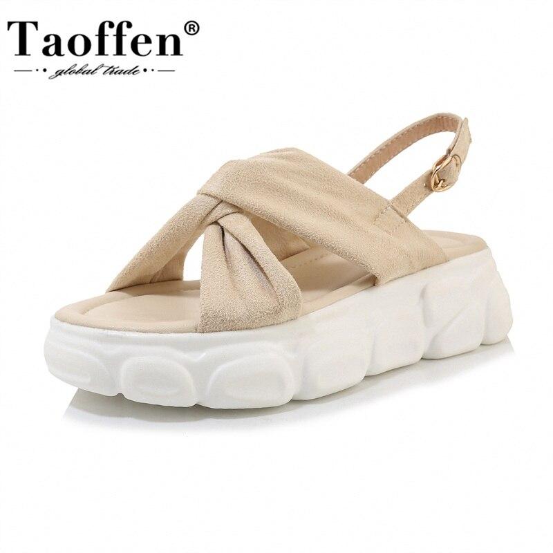 TAOFFEN Plus Size 29-43 Women Sandals Platform Open Toe Women Shoes Buckle Ankle Strap Elastic Leisure Fitting Daily Footwear