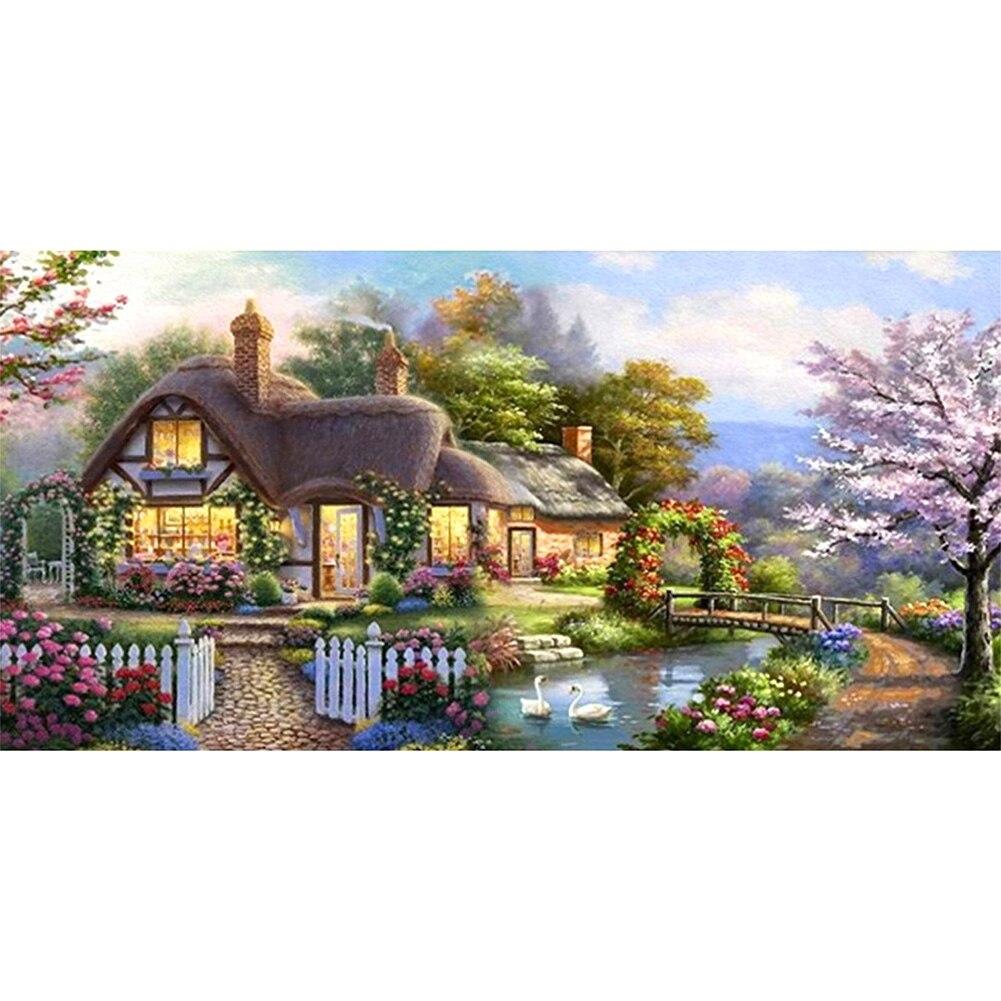 Jardim cottage imagem 5d diy broca redonda completa diamante pintura artesanal strass mosaico kits de artesanato parede presente decoração da sua casa
