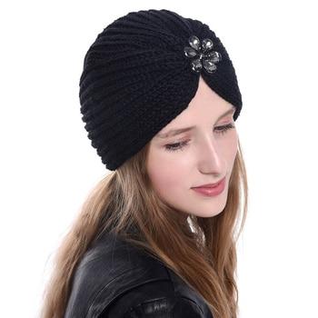 2019 winter women turban caps bohemian style wool knit hijab bonnet flower drill muslim headdress inner for turbante - discount item  24% OFF Muslim Fashion