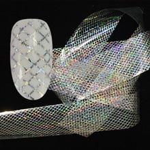 Голографическая наклейка для ногтей, 100x4 см, голографическая, звездная, лазерная линия, переводная наклейка для дизайна ногтей, блестящие аксессуары для ногтей LAXK80