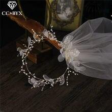 Véu de noiva cc, véu de casamento com flor coroa para noiva, acessórios de joias para mulheres, fio macio, romântico diy v667