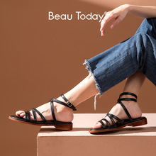 Gladiator Sandals Low-Heel-Shoes Women Strap Ankle-Buckle Genuine-Cow-Leather Summer