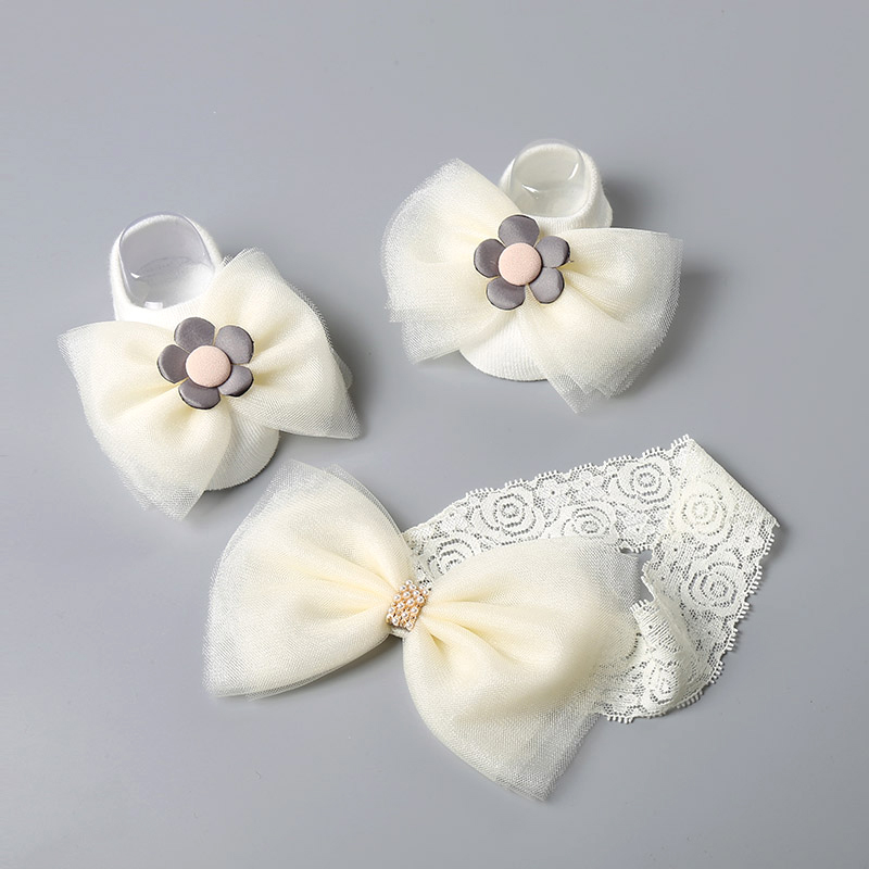 2 Pcs/Set Cute Baby Girl Headband Socks Set Lace Flower Bows Crown Newborn Headbands Girls Hairband Turban Baby Hair Accessories