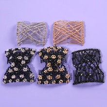 Retro Beads Stretchy Hair Comb Double Magic Slide Metal Combs Hair Clips Wedding Prom Hair Styling Jewelry Headpieces Wholesale variety wooden beads hairpins hair accessories crown hair clips hair comb magic acrylic vintage slide hair comb 2 colors