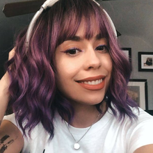 Парик beauчерное дерево Омбре короткий синтетический парик вьющийся боб парик с челкой термостойкий парик для женщин черный розовый фиолето...