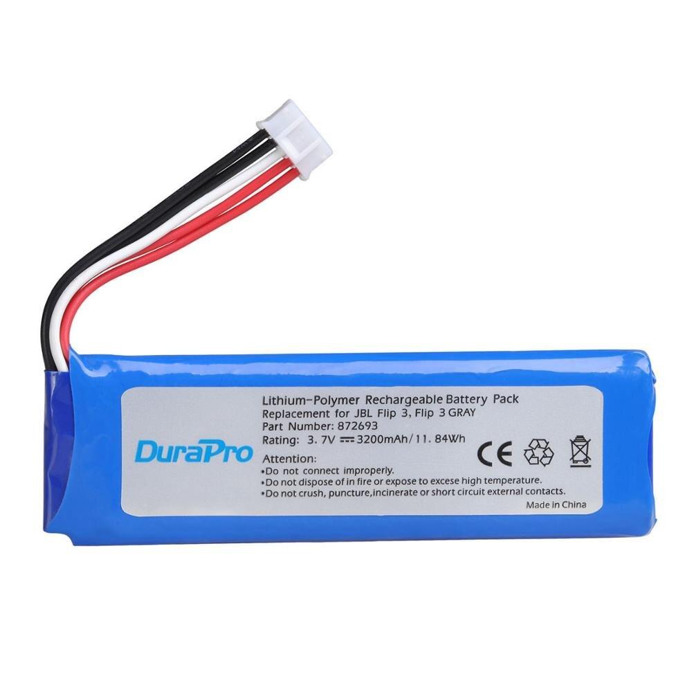 Аккумулятор DuraPro 3,7 V 3200mAh GSP872693 аккумуляторная батарея для JBL Flip 3, Flip 3 серый