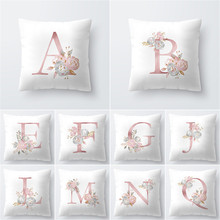 Flower Printed Pillow Case Cover Square 45cm*45cm Polyester Pillowcase Home Room English Alphabet with 45*45cm Core