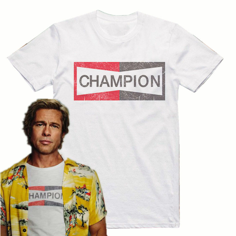 Era uma vez em Hollywood Campeão de Brad Pitt auto logotipo t shirt homens tee casual EUA tamanho S-3XL
