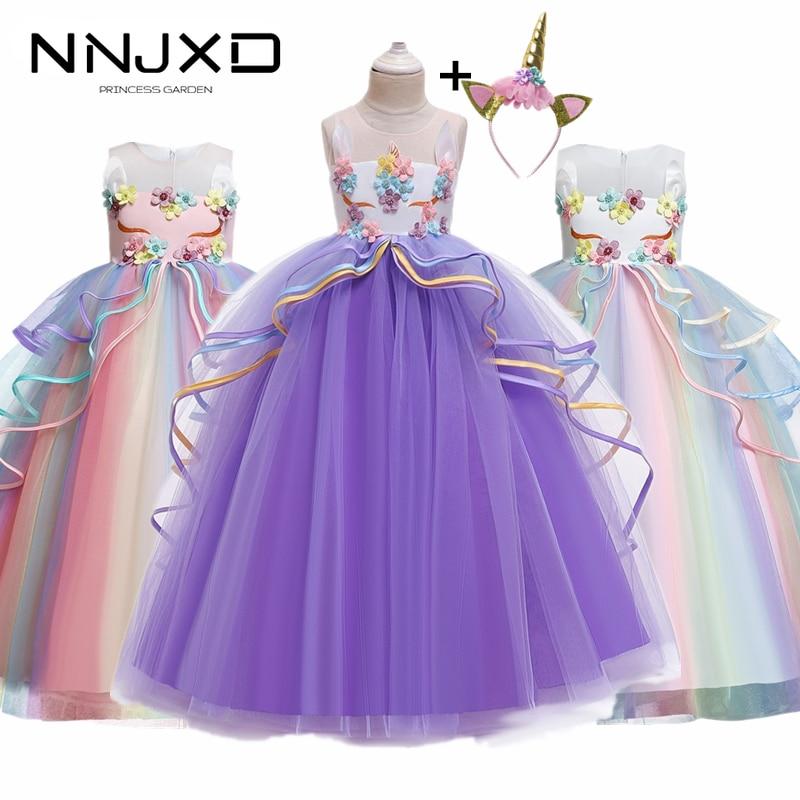 Платье для девочек для костюмированной вечеринки с радужным единорогом нарядное элегантное кружевное длинное бальное платье-пачка принце...