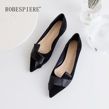 ROBESPIERE Women Pointed Toe Flats Soft Kid Suede Bowknot Design Lady Loafers Shoes New Shallow Mouth Low Heel Casual Flats A82 czrbt sheep suede leather women flats spring crystal pearl dragonfly loafers women concise round toe shallow mouth flat shoes