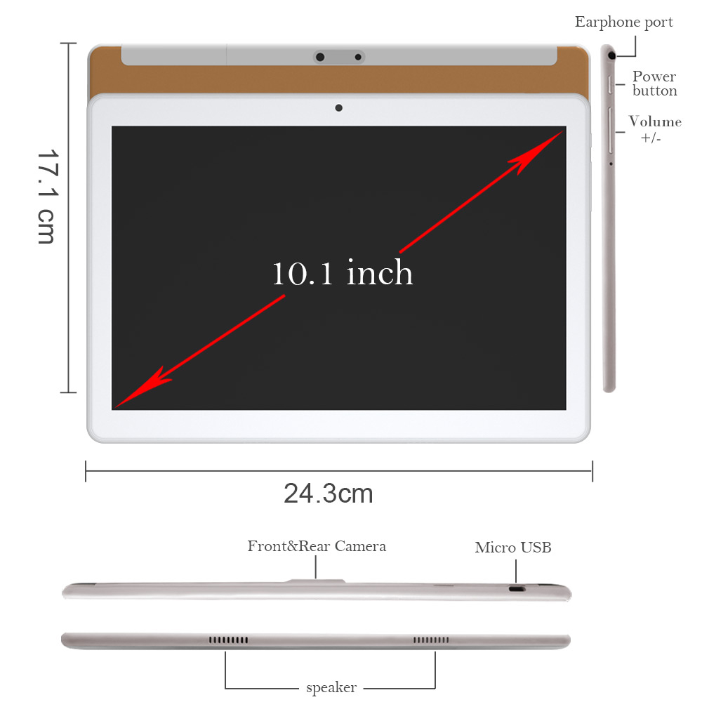 Купить с кэшбэком ANRY RS20 10 inch Tablet Pc Android 8.1 Google Market 4G Phone Call Bluetooth Wifi GPS 2GB+32GB 10.1 tablets CE Certified