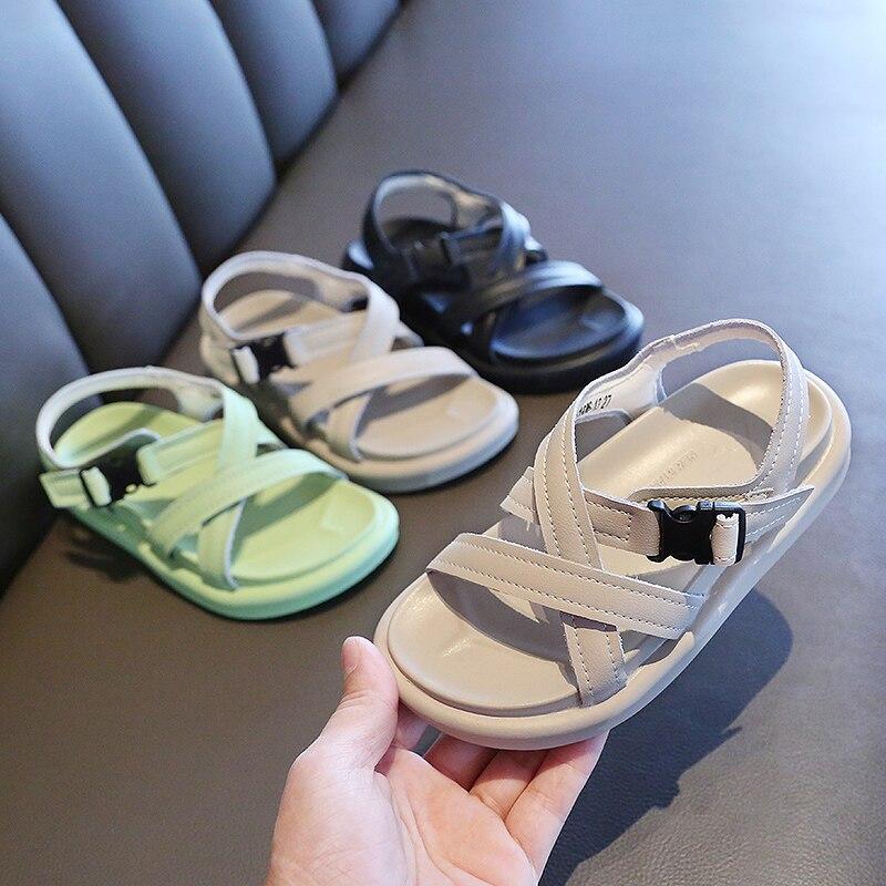 Verão crianças sandálias para meninas meninos sandálias do bebê couro genuíno princesa meninas sapatos roma sandálias de praia da criança