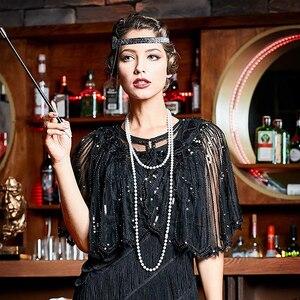 Image 5 - Vintage 1920s sineklik şal pullu boncuklu kısa pelerin boncuklu dekorasyon Gatsby parti örgü kısa Cover Up elbise aksesuarı