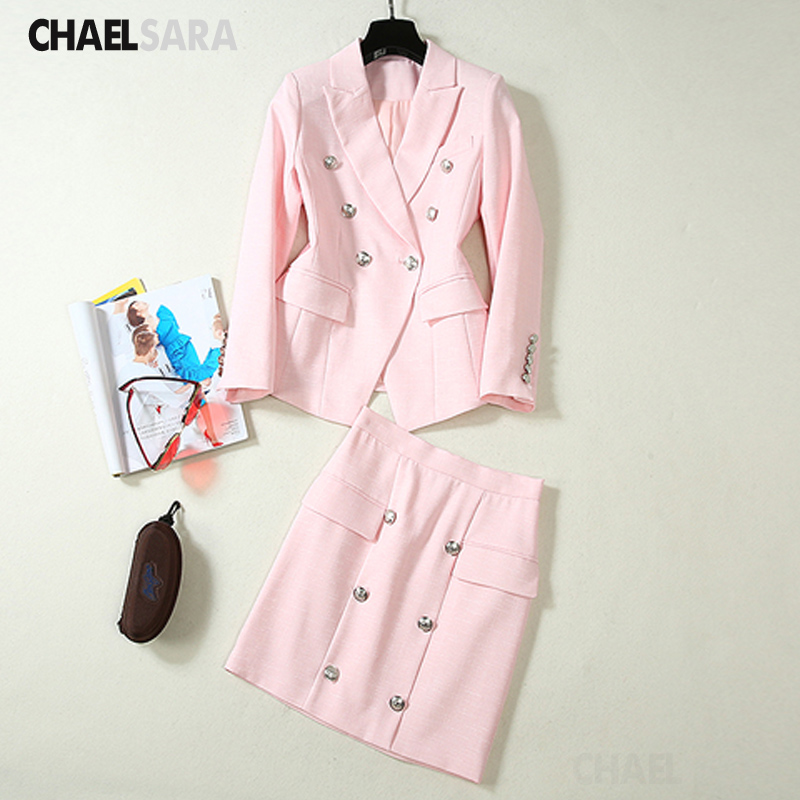 2020 Formal Skirt Suits Women Double Breasted Blazer Jacket +Mini Skirt 2 Piece Set Elegant Office Lady Female Outfits