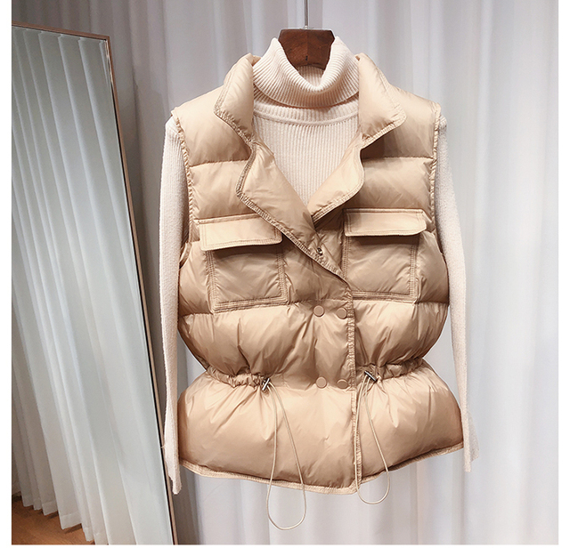 Women Ultralight Duck Down Short Vest Coat Stand Collar Waistcoat Packable Gilet