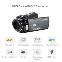 ORDRO 4K WiFi Digital Video Kamera für Familie Aufnahme Camcorder DV Recorder 24MP 16X Digital Zoom Mikrofon LCD Touchscreen(China)