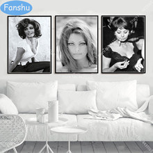 Hot SOPHIA LOREN Poster Black White Actress Movie Woman Canvas Painting Posters and Prints Wall Art Picture for Room Home Decor(China)