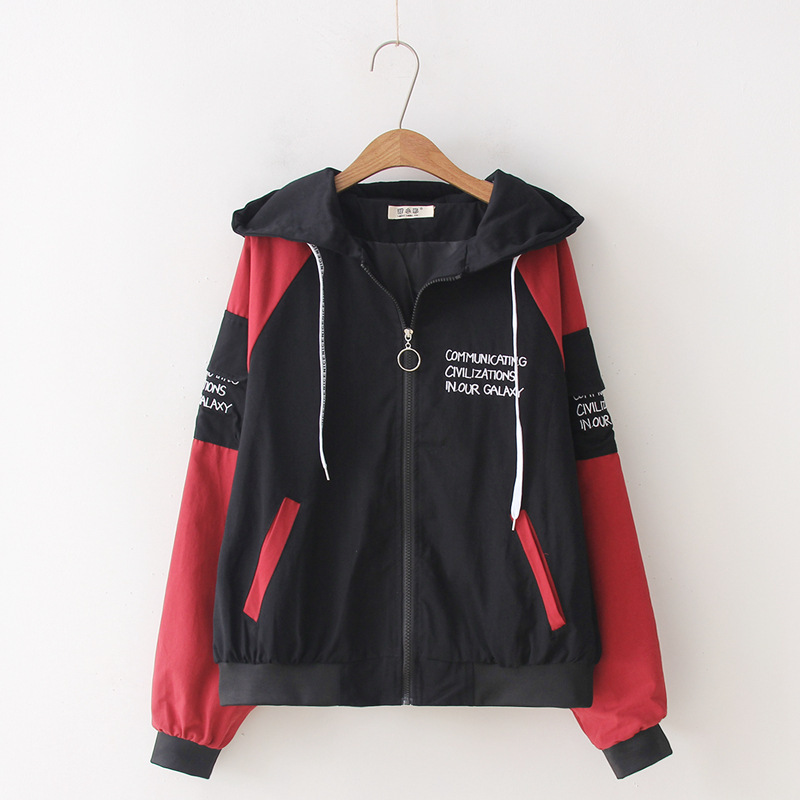 Spring and autumn Hooded Ladies top preppy style letter embroidery Hoodies top Harajuku zipper Female Coat 44
