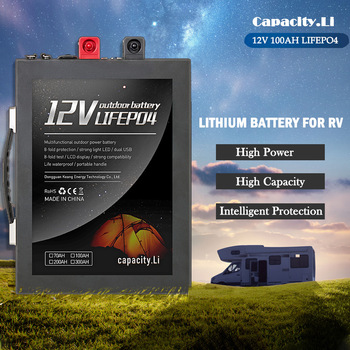 12V100AH200AH LiFePO4 lithium battery pack for outdoor camping RV Ship machine battery solar lighting with 110V220V300Winterface image
